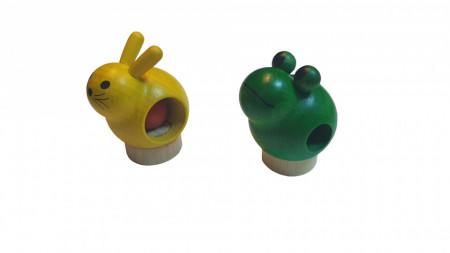 Set 2 figurine lemn ecologic, broasca, iepure, 60 x 43 mm, Sigikid