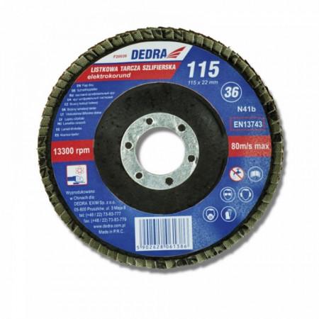 Disc evantai pentru slefuit , 125 x 22.2 mm , granulatie 36 , DEDRA