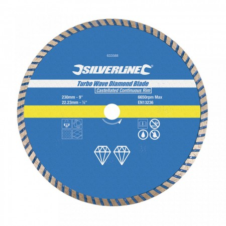 Disc taiat beton, caramida, 230 x 22.23mm, Silverline