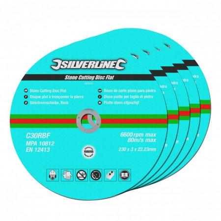 Discuri flex pentru piatra set 5 buc , 230 x 3 x 22.23mm , Silverline Stone Cutting Discs Flat 5pk