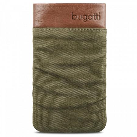 Husa universala telefon, textil, maro/verde, 125 x 73mm, Bugatti