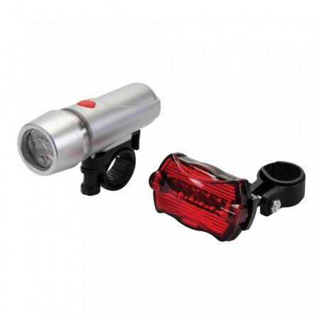 Set 2 lanterne bicicleta, fata/spate, LED, Silverline