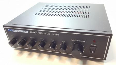 Amplificator 60W tip public adress Majorcom MX60 ,egalizator , intrare de microfon ,iesiri 4-16Ω si 100v