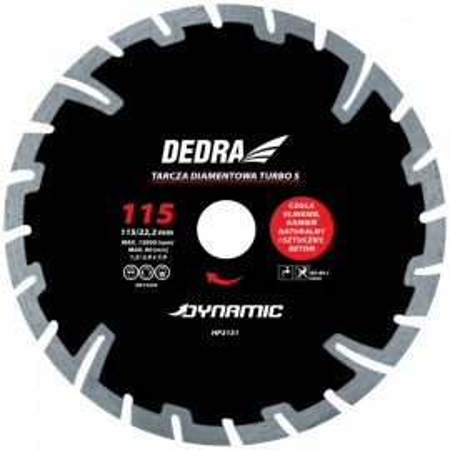 Disc diamantat TURBO S , 115 x 22.2mm , taie caramida , piatra , beton , Dedra