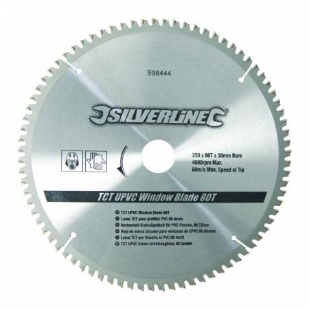 Disc , panza circular , aluiminiu TCT UPVC Window Blade 80T , 250 x 30 - 25, 20, 16mm , Silverline