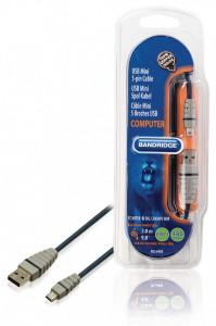Cablu USB mini 5 pini tata - USB tata, cablu 100% cupru, 3m, Bandridge