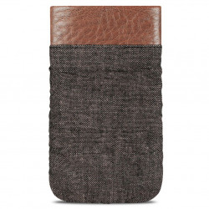 Husa universala telefon, textil, maro/gri, 125 x 73mm, Bugatti