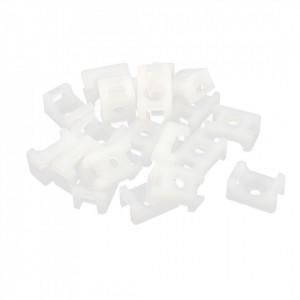 Set 100 prinderi pentru bride tip soricel, 16 x 9.7 mm, alb, Benman