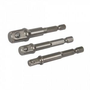 Set 3 biti adaptori hex la tubulare, 1/4, 3/8, 1/2, Silverline