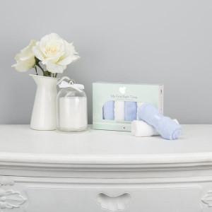 Set 6 mini prosoape spalat premium, fibre bambus, 27 x 27 cm, alb-albastru, CuddleCo