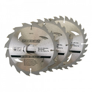 Set 3 discuri, lemn , 160 x 30 , prindere , 10, 16, 20mm, 30 dinti, Silverline