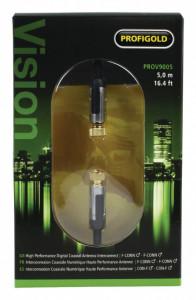 Cablu profesional 5m, conector F tata-tata , placat aur 24K, mufa metal, Profigold