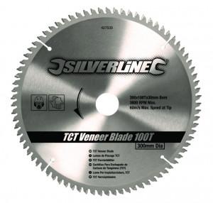 Disc , panza circular TCT 100T0 ° , 300 x 30 - 25, 20, 16mm , 100T , Silverline TCT Veneer Blade 100T