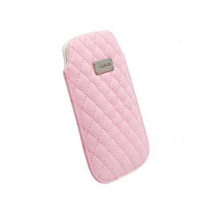 Husa universala telefon, vinil/textil roz, 111.50 x 72mm, Krusell