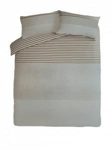 Lenjerie de pat ,1 plic pilota, 2 fete perna, 2 persoane, 225x 220cm, 48 x 74cm, king, natural stripe, George Home