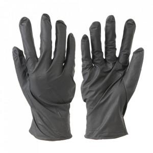 Manusi protectie maini , unica folosinta, 100 bucati, nitril, rezistente rupere, fara pudra, negre, marimea XL, Silverline