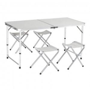 Masa camping cu 4 scaune pliante, tip valiza, aluminiu, placaj, VKTools