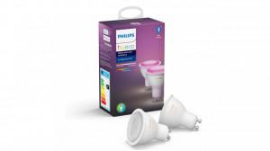 Pachet 2 becuri LED spot Philips Hue, Bluetooth, Zigbee, GU10, 5.7W (50W), 350 lm, A+, lumina alba si colorata