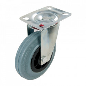 Roata pivotanta aplicabila, 125 mm, greutate suportata 100Kg, cauciuc non-urme, Fixman