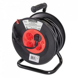 Rola tambur cablu prelungitor, 4 prize, 16A, 25m, protectie termica, POWER MASTER