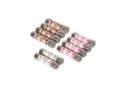 Set 10 sigurante fuzibile protectie circuite electrice, 3A, 5A, 13A, 25.4mm x 6.3mm, Power Master