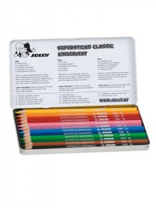 Set 12 creioane colorate ,12 culori, cutie metalica, Jolly