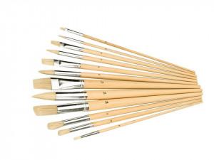 Set 12 pensule pictura, maner lemn natural, 2-12mm, Silverline