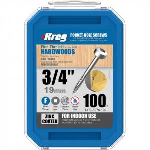 Set 1200 suruburi profesionale lemn/placaj, zincate, perforare rapida, 6 x 19mm, Pan Head, Kreg