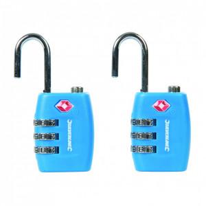 Set 2 lacate cu cifru pentru troller, valiza, 12.4 x 20.5mm, aprobat TSA, Silverline
