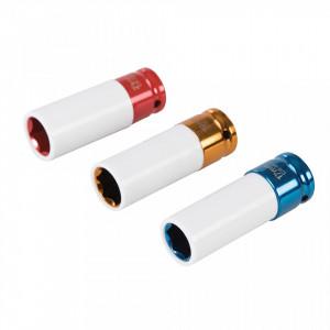 Set 3 tubulare impact, jante aliaj, anti-zgariere, 1/2, 17,19, 21mm, Silverline
