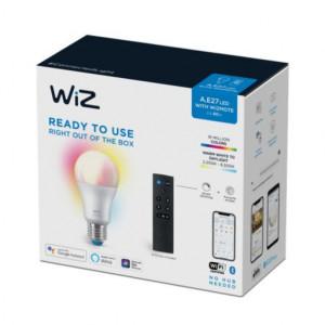 Set bec LED inteligent + telecomanda WiZ RGB, multicolor Wi-Fi, A60, E27, 8W (60W), 806 lm, temperatura lumina alba calda, compatibil Google Assistant/Alexa/Siri