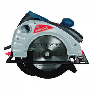 Fierastrau circular de mana 1400W , ghidaj laser , 185mm , 0-45 ° , Silverline Silverstorm 1400W Circular Saw with Laser Guide 185mm