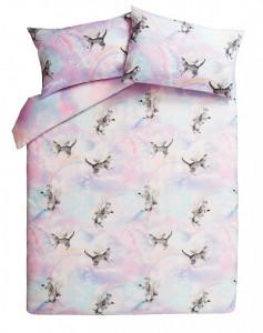 Lenjerie de pat ,1 plic pilota, 2 fete perna, 2 persoane, 260 x 220cm, 48 x 74cm, super king, pisica unicorn, George Home