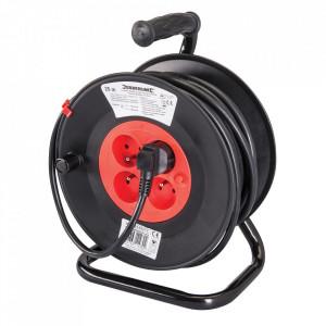 Rola tambur cablu prelungitor, 4 prize, 16A, 25m, protectie termica, sistem Franta, pin impamantare, POWER MASTER
