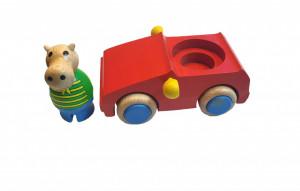 Set 2 piese masina , hipopotam, lemn ecologic, +18 luni, 135 x 60mm, MixMax