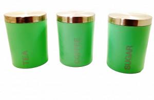 Set 3 borcane din plastic cu capac inox pentru cafea , zahar si ceai