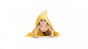 Set baie bebe, 2 prosoape gluga 75x75cm, 1 prosop 75x75cm, 2 prosopele spalat 25x25cm, 100% bumbac, George Home