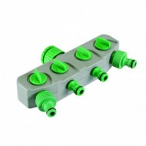 Splitter gradina 4 iesiri cu robinet , Silverline 4-Way Tap Connector