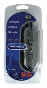 Cablu antena satelit, receiver, 5m, cablu 100% cupru, mufe placate aur 24K, Bandridge