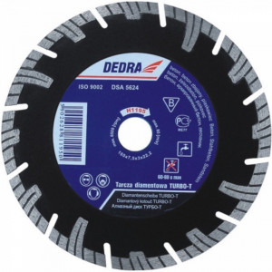 Disc diamantat , 350 x 25.4mm , taie caramida , piatra , beton , Dedra Turbo-T