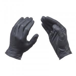 Manusi protectie maini , unica folosinta, 100 bucati, nitril, rezistente rupere, fara pudra, negre, marimea M, Silverline