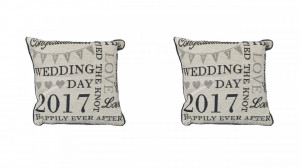 Set 2 perne decorative premium, 30 x 30 cm, wedding, George Home