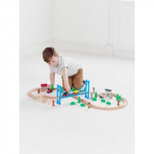 Set sine tren lemn 57 piese, vagoane, personaje, pod, decor vegetatie, George Home