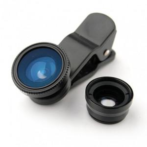 Set universal lentile pentru telefon 3 in 1, fisheye, macro, wide angle, husa inclusa, VKTools