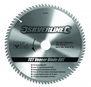 Disc pentru lemn TCT 80T0 ° , 250 x 30 - 25, 20, 16mm , 80T , Silverline TCT Veneer Blade 80T