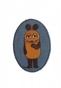 Petic textil, patch brodat , 95 x 70mm, soarece portocaliu, Wenco