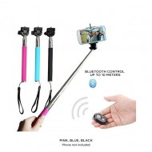 Selfie stick Polaroid, Bluetooth, 105 cm, Negru / Albastru / Roz / Verde / Portocaliu