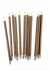 Set 12 creioane cu radiera, HB, triunghi, 190mm, grafit, Jiang Bo