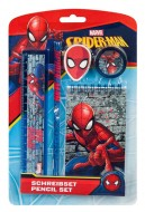 Set 5 piese desenat, rigla, creion, carnetel, ascutitoare,Spiderman, Marvel