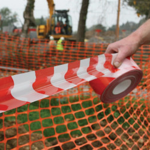 Banda de siguranta, semnalizare perimetru, 70mm x 500m, rosu/alb, Fixman